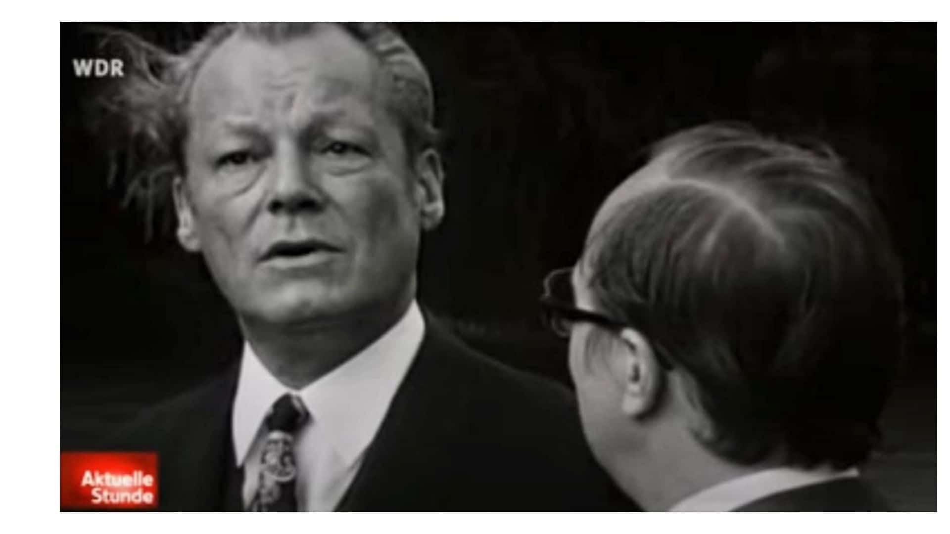Beim Austausch mit WDR-Journalist Friedrich Nowottny im Jahr 1972 fallen die Interviewantworten von SPD-Kanzler Willy Brandt maximal einsilbig aus.